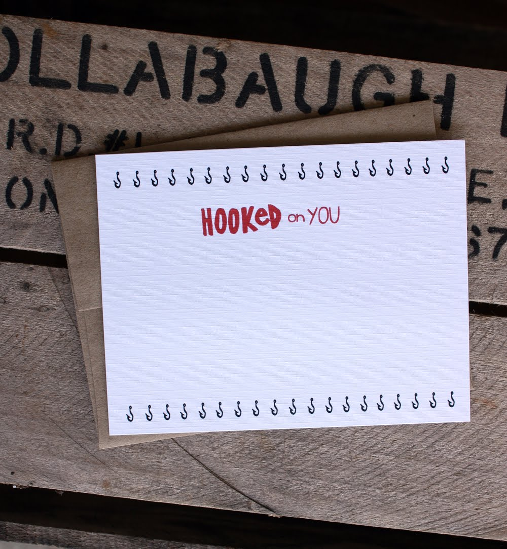 Hooked on you note card