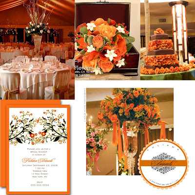 Orange fall weddings paper chick for Autumn wedding decoration