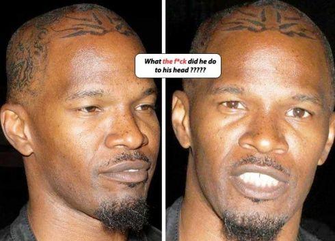 So hmmmmm it looks like jamie foxx has new tatoos On top of his HEAD,
