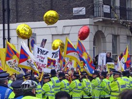 pro-Tibet protesters in Bloomsbury Square
