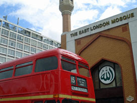 Passing Routemaster outside East London Mosque main entrance