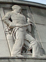 Oxy-acetylene welder sculpted on the front of Poplar Town Hall