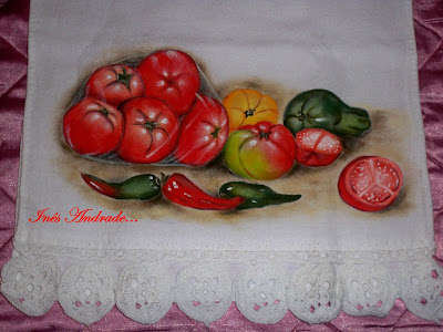 Pintura de tomates e pimentões