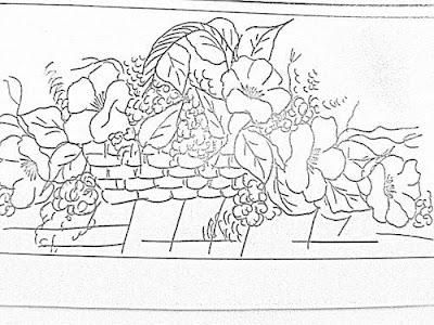 Risco de hibiscos na cesta