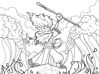 Moses splitting the red sea coloring pages coloring pages for Crossing the red sea coloring page