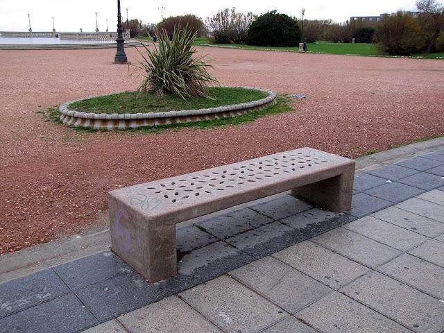 Stone bench, seafront promenade, Livorno