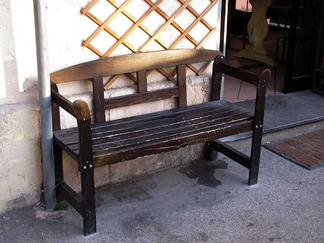 Bench outside a bar, Piazza della Vittoria, Livorno