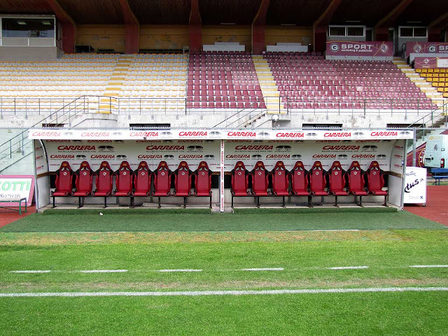 Team benches at the Ardenza Stadium, Livorno
