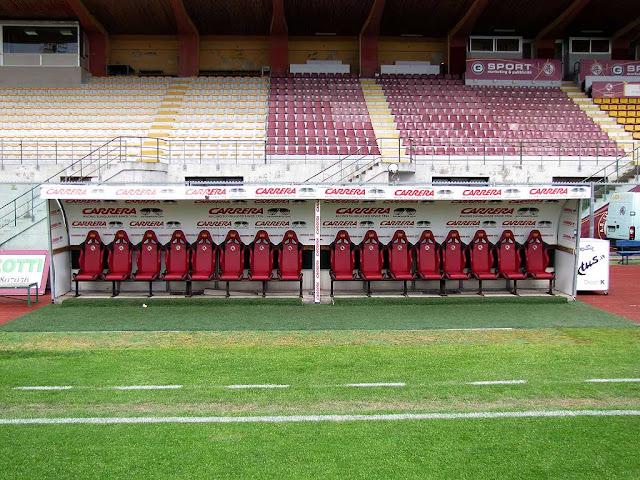 Team benches at the Ardenza Stadium, Livorno