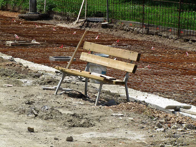 This will be a bench on the new canal, Piazza Anita Garibaldi, Livorno