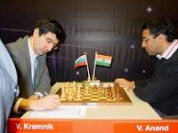Partida de ajedrez entre Kramnik y Anand que encabezan la lista Elo FIDE de enero de 2008