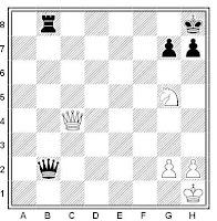 Ejercicio de ajedrez de Lucena con el mate de la coz como tema