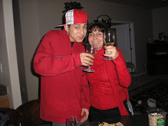 Mom and Josh sporting red