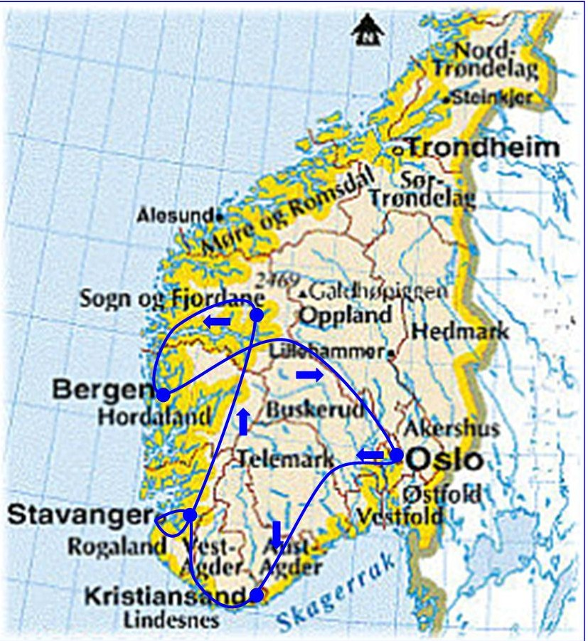 Ferries To Norway Map - Norway map of fjords