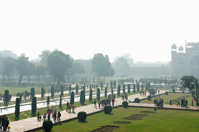A view of the area in front of the Taj Mahal - greenery, fountains