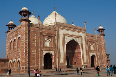 An angular view of the Palace next to the Taj Mahal