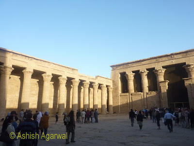 Edfu temple in Egypt - Court of Offerings, surrounded by columns on 3 sides