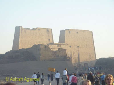 Edfu temple in Egypt - view of the temple from a distance
