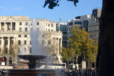 One of the fountains of Trafalgar Square in London