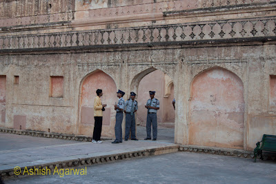Security personnel inside the Amer Fort in Jaipur