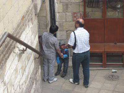 Coptic areas of Cairo - entering the complex through a staircase descending down