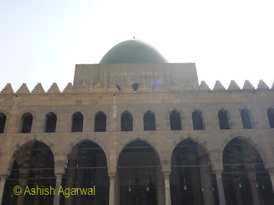 Saladin Citadel in Cairo - Grand corridors, pillars, and lamps in the Nasir mosque