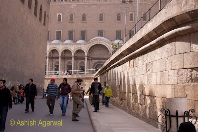 Saladin Citadel in Cairo - Tourists in the passageway inside the complex with an incline