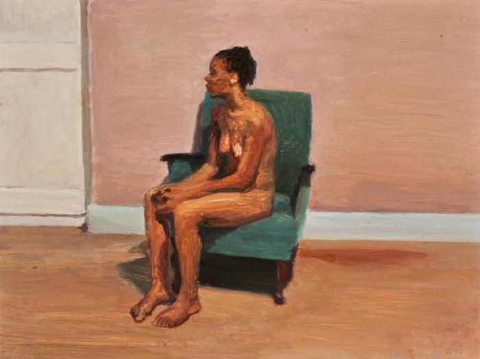 Seated Nude With White Door Nomthimba Oil On Board Cm