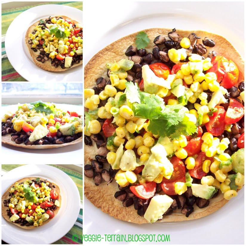Veggie Terrain: VeganMoFo: Vegan Black Bean Tostadas with Corn Relish