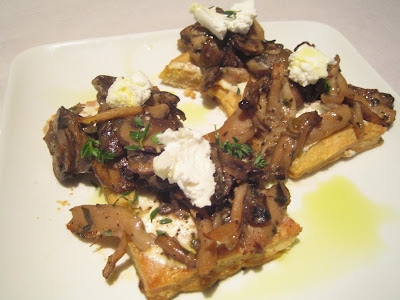 Tuck Shop - Wild mushrooms on short pastry, goat cheese, sherry, thyme