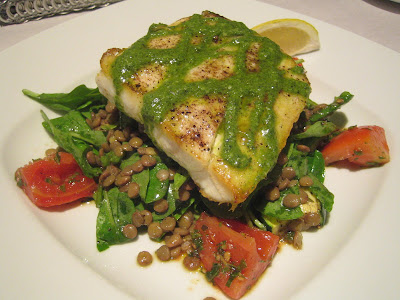 Tuck Shop - Halibut filet, herb garden pesto, lentils, zucchini, heirloom tomatoes