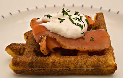 Celery Root Waffles with Gravlax