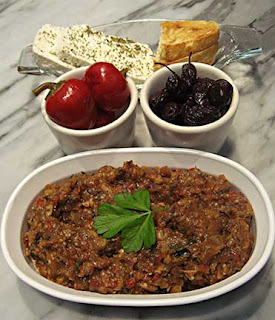 Meze Tray with Eggplant Salad