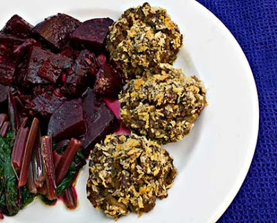 Stuffed Mushrooms, Marinated Beets, and Horta Salad