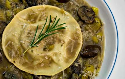Oxtail Ravioli in Leek-Mushroom Broth
