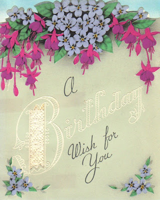 I would pop in and show a few of my latest vintage birthday cards!