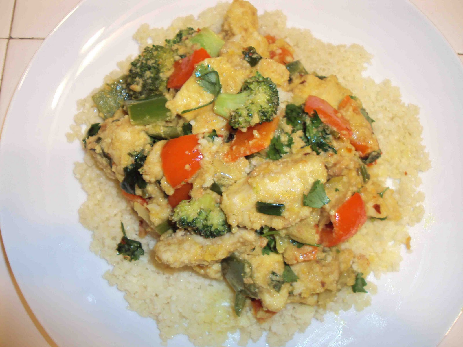 Coconut Curry Chicken over Cauliflower Rice!
