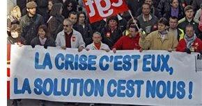 Trabalhadores franceses em protesto (fev/09)