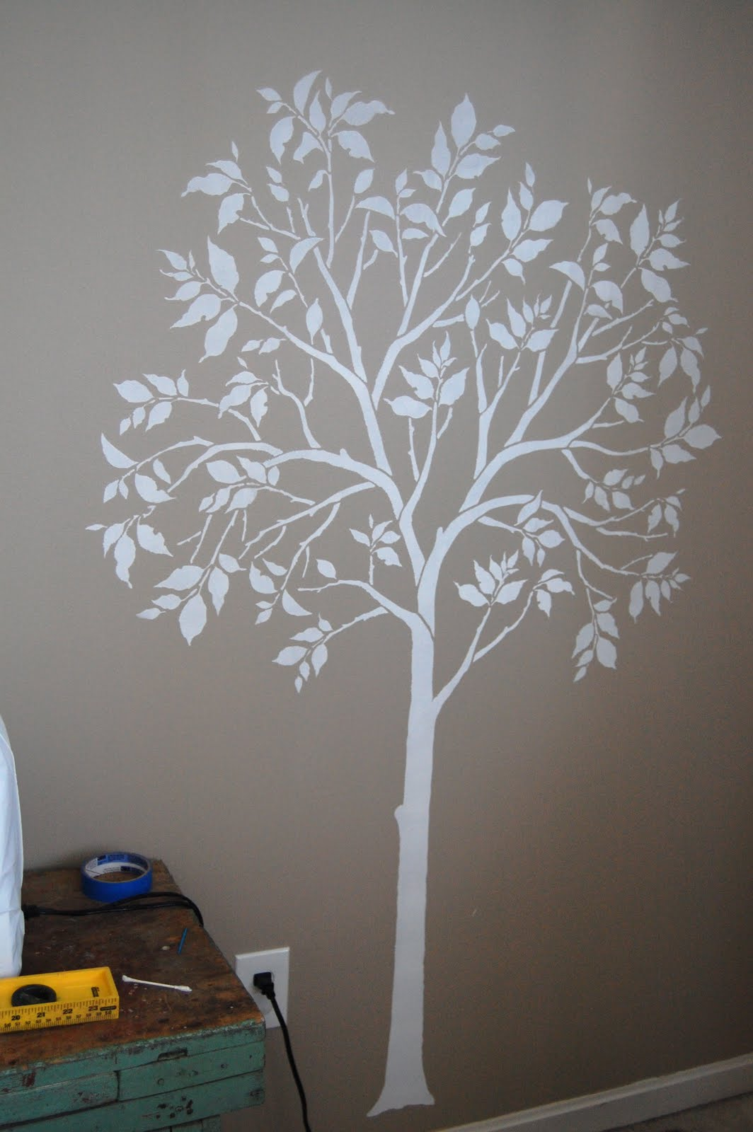 The large tree stencil comes with a separate bird stencil for Large tree template for wall