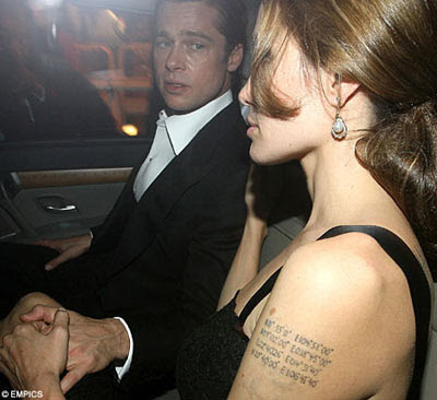 Angelina Jolie Coordinate Tattoo