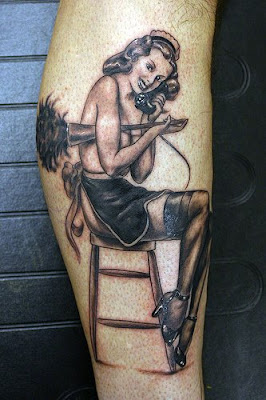 Maid-pinup tattoo