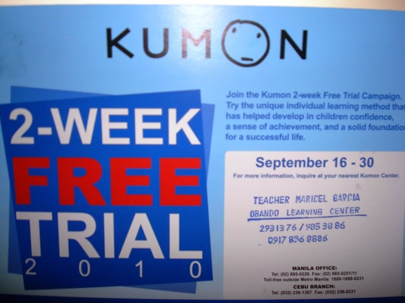 Beng's Entertainment Spree: Kumon Free Trial
