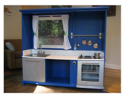 Blue Wood Play Kitchen handmade holidays and gifts: play kitchens you can make