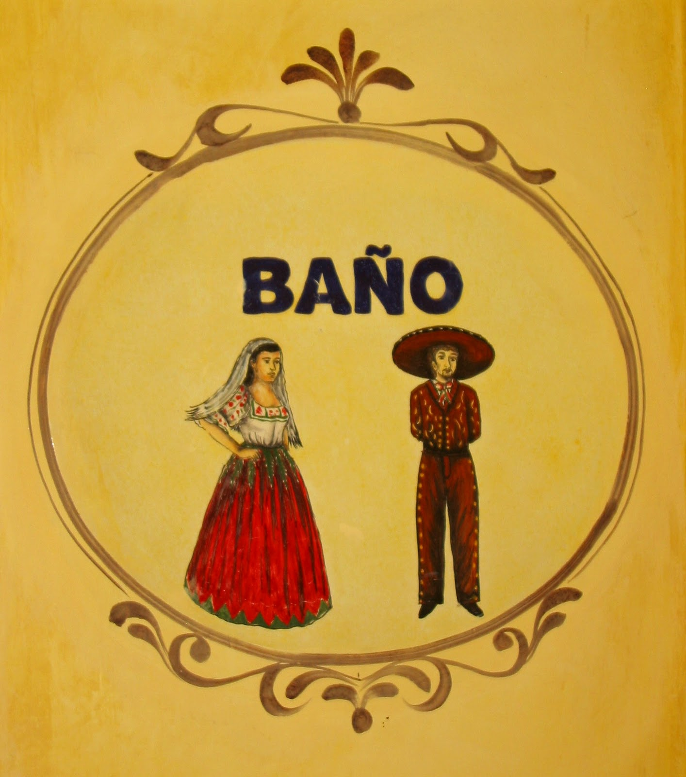 This is the sign for the bathrooms at the Posada de Las Minas in Pozos  The  woman is wearing the typical national costume of Mexico  a long  full green  and. Robin Talks  Cooks and Travels  Murals of all kinds