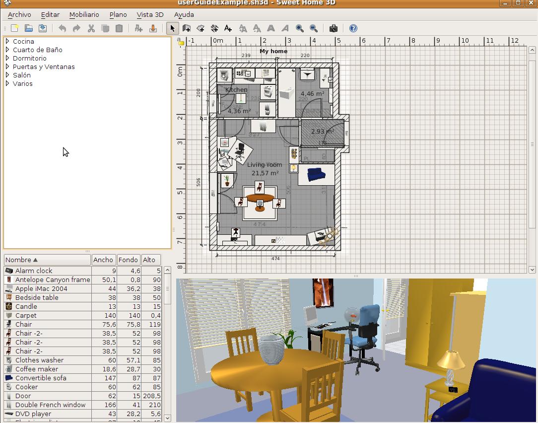 ubuntu pt sweet home 3d. Black Bedroom Furniture Sets. Home Design Ideas