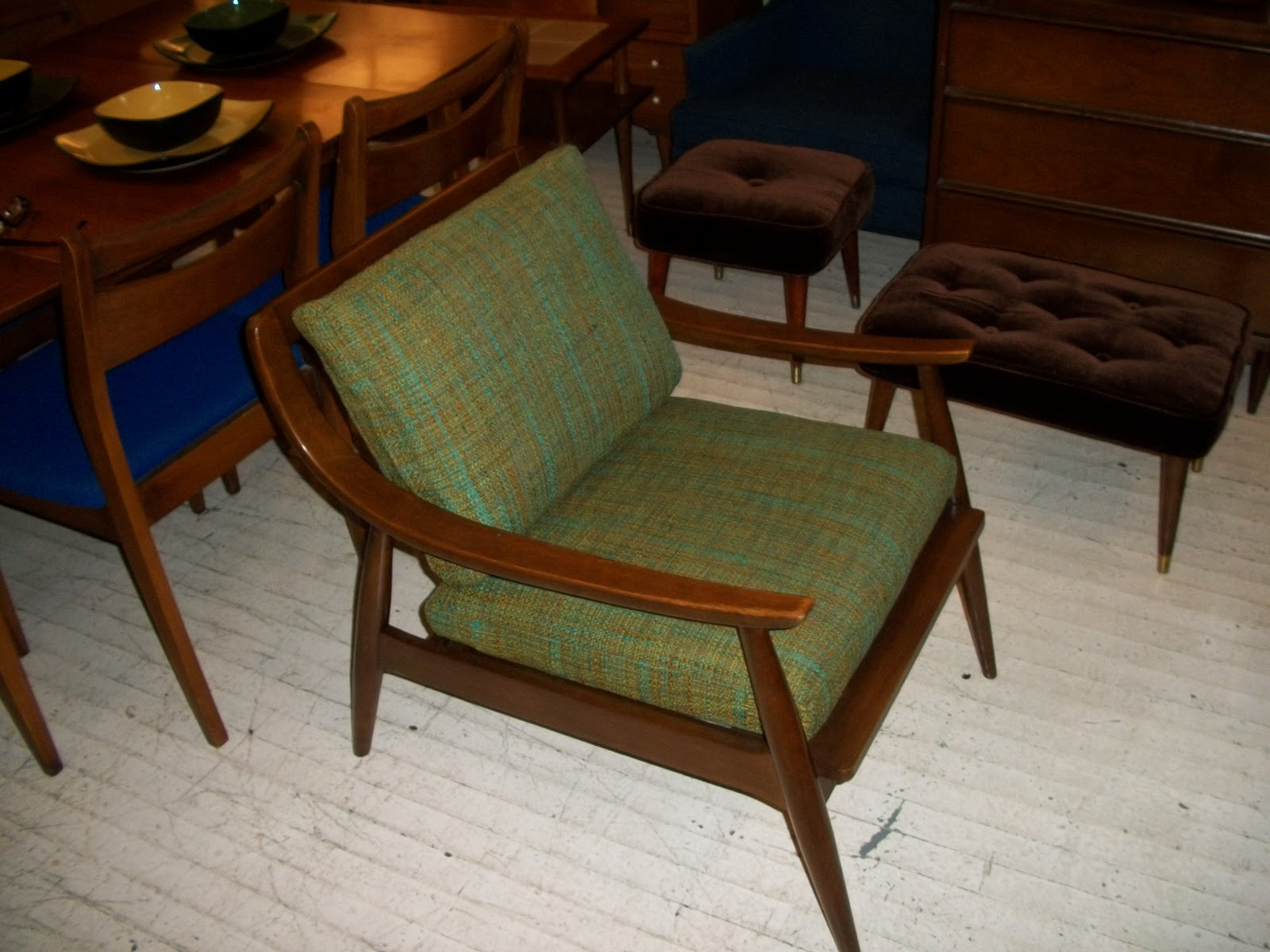 an orange moon walnut mid century modern danish lounge chair