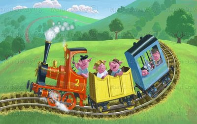train painting pigs