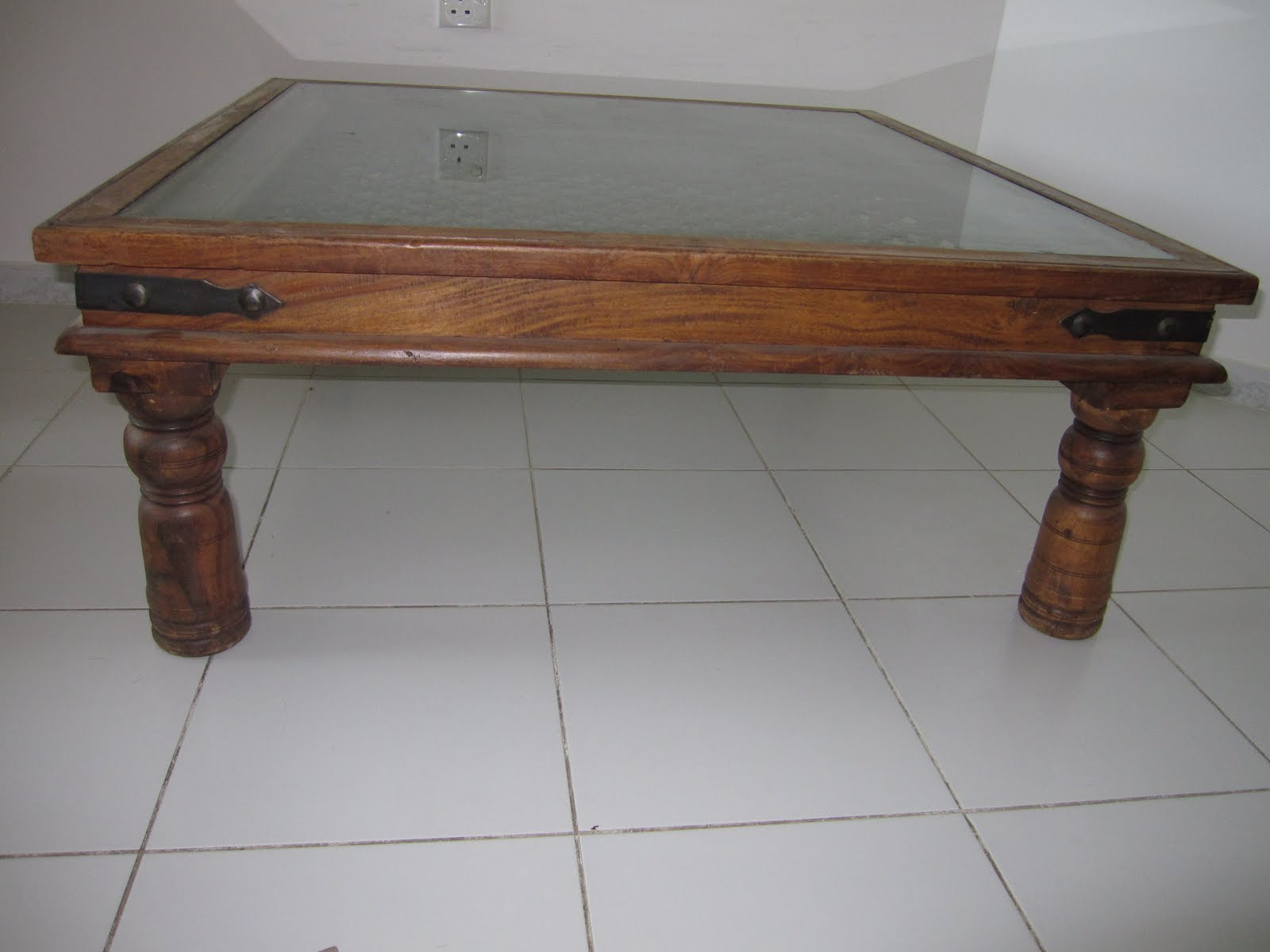 Center Table With Glass : square center table made of glass and wood at 750 aed size is 1 m by 1 ...