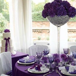 Purple Wedding Decorations on Purple Tablescape Reception Decor