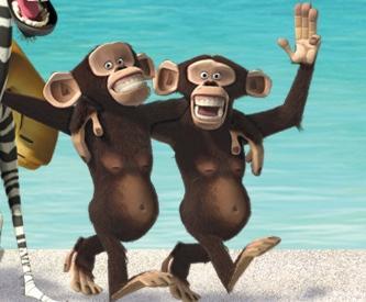 Dibujo de dos chimpancés abrazados y linda sonrisa